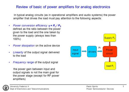 University Federico II Dept of <strong>Electronics</strong> <strong>and</strong> <strong>Telecommunications</strong> Paolo Spirito Power Semiconductor Devices 1 Review of basic of power amplifiers for analog.