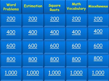 200 400 600 800 1,000 Word Problems Estimation Square Roots Math Vocabulary Miscellaneous 200 400 600 800 1,000.