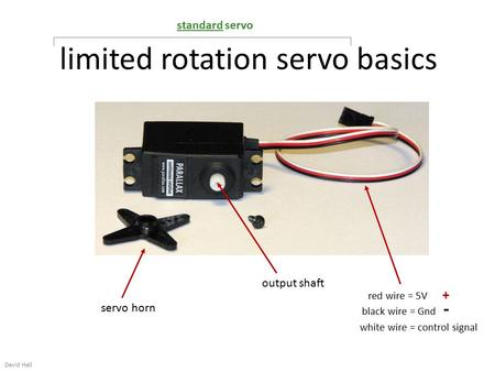 Limited rotation servo basics David Hall output shaft servo horn red wire = 5V + black wire = Gnd - white wire = control signal standard servo.