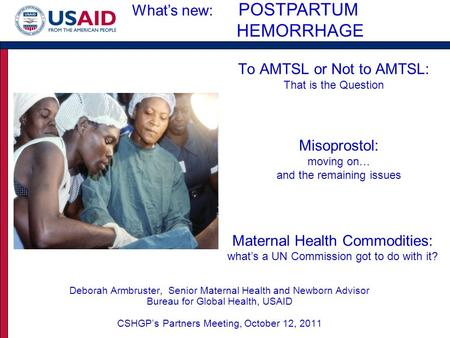 To AMTSL or Not to AMTSL: That is the Question Deborah Armbruster, Senior Maternal Health and Newborn Advisor Bureau for Global Health, USAID CSHGP's Partners.