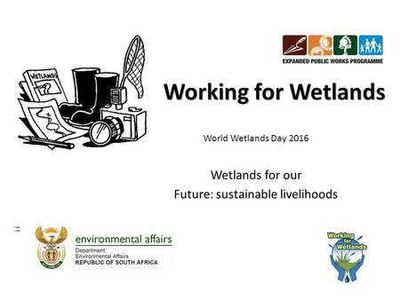 Working for Wetlands World Wetlands Day 2016 Wetlands for our Future: sustainable livelihoods.