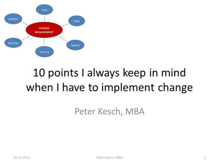 10 points I always keep in mind when I have to implement change Peter Kesch, MBA 20.11.2013Peter Kesch, MBA1.