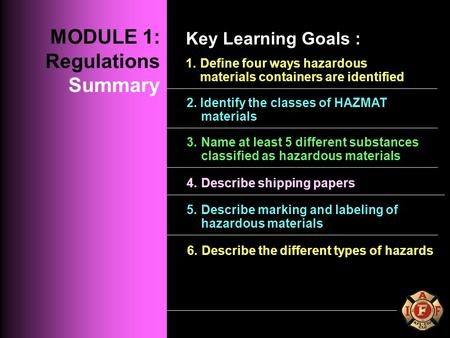 MODULE 1: REGULATIONS 1.Define four ways hazardous materials containers are identified 2. Identify the classes of HAZMAT materials 3. Name at least 5 different.