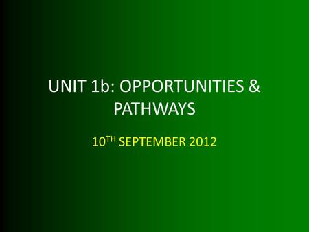 UNIT 1b: OPPORTUNITIES & PATHWAYS 10 TH SEPTEMBER 2012.