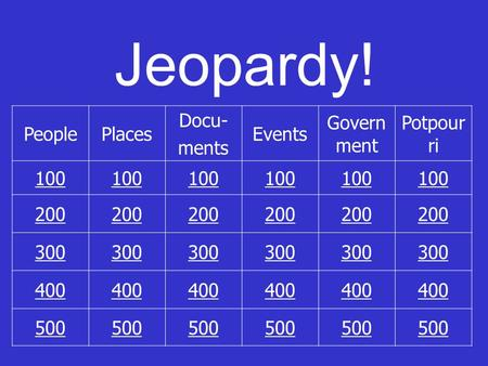 Jeopardy! PeoplePlaces Docu- ments Events Govern ment Potpour ri 100 200 300 400 500.