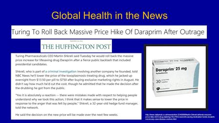 Global Health in the News  price-hike-AIDS-drug-claiming-HELPING-need-life-saving-medication-funds-research-