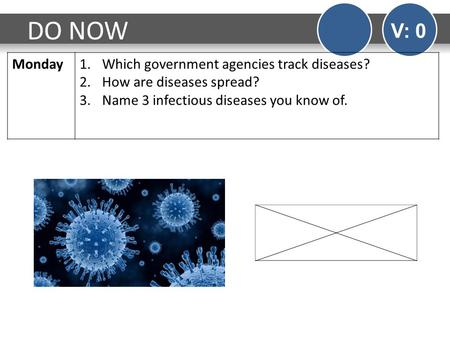 DO NOW V: 0 Monday1.Which government agencies track diseases? 2.How are diseases spread? 3.Name 3 infectious diseases you know of.