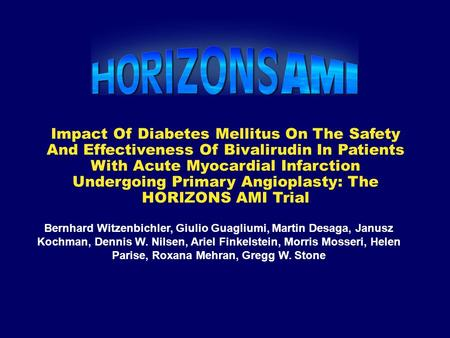 Impact Of Diabetes Mellitus On The Safety And Effectiveness Of Bivalirudin In Patients With Acute Myocardial Infarction Undergoing Primary Angioplasty: