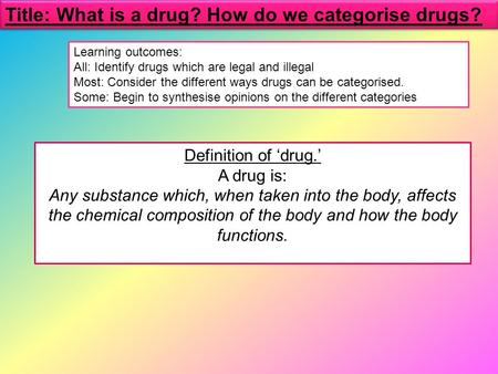Definition of 'drug.' A drug is: Any substance which, when taken into the body, affects the chemical composition of the body and how the body functions.