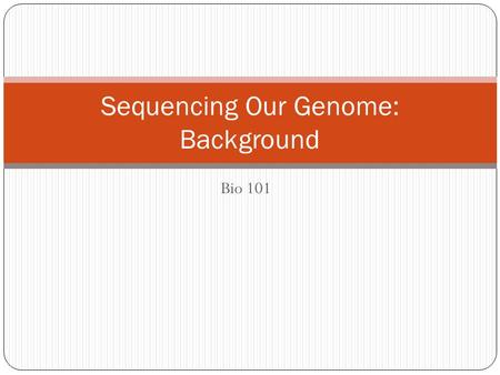 Bio 101 Sequencing Our Genome: Background. How can a black female dog have yellow, brown, and black puppies?