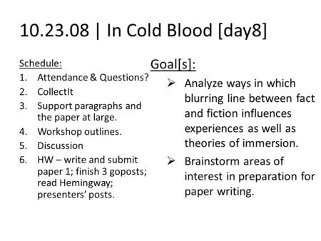 Essay/Term paper: In cold blood