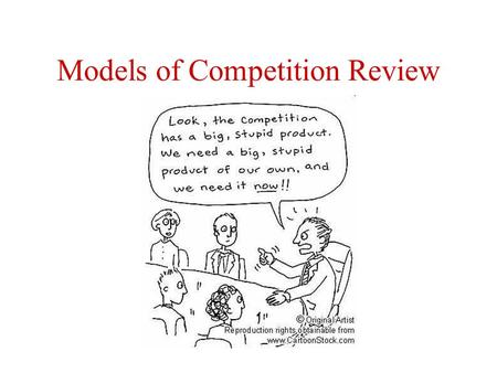 Models of Competition Review. Please list the letters that reflect the following using letters to define areas: 3. Total welfare (producer + consumer)