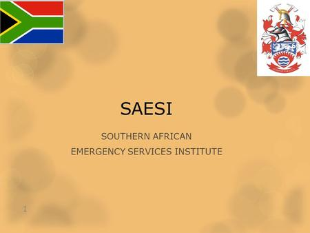 SAESI SOUTHERN AFRICAN EMERGENCY SERVICES INSTITUTE 1.