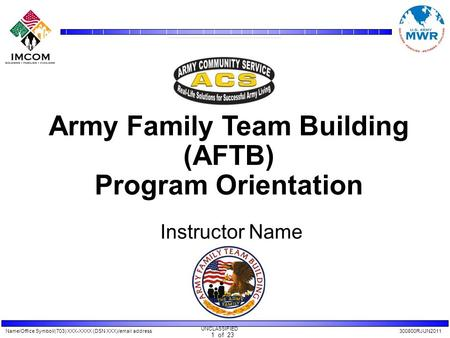 Name/Office Symbol/(703) XXX-XXXX (DSN XXX)/email address300800RJUN2011 UNCLASSIFIED 1 of 23 Army Family Team Building (AFTB) Program Orientation Instructor.