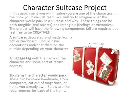 Character Suitcase Project A suitcase; decorated and made from a box or cardboard. Should have decorations and/or stickers on the outside depending on.