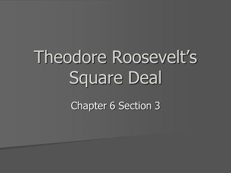 Theodore Roosevelt's Square Deal Chapter 6 Section 3.