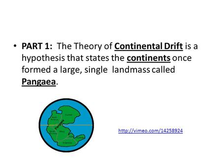 PART 1: The Theory of Continental Drift is a hypothesis that states the continents once formed a large, single landmass called Pangaea.