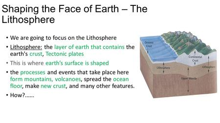 Shaping the Face of Earth – The Lithosphere We are going to focus on the Lithosphere Lithosphere: the layer of earth that contains the earth's crust, Tectonic.