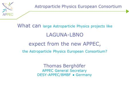 Astroparticle Physics European Consortium What can large Astroparticle Physics projects like LAGUNA-LBNO expect from the new APPEC, the Astroparticle Physics.