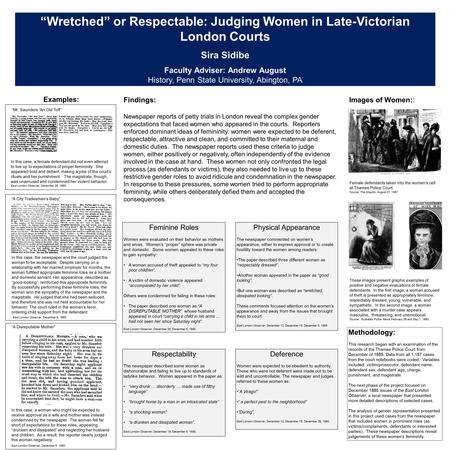 """Wretched"" or Respectable: Judging Women in Late-Victorian London Courts Sira Sidibe Faculty Adviser: Andrew August History, Penn State University, Abington,"