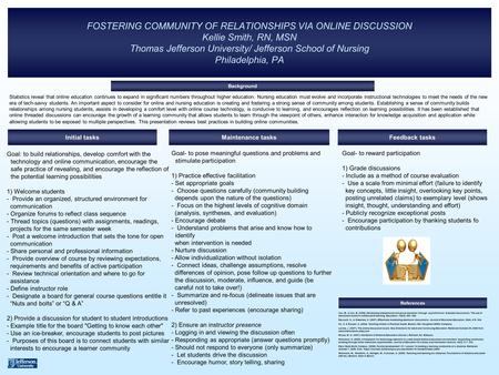 FOSTERING COMMUNITY OF RELATIONSHIPS VIA ONLINE DISCUSSION Kellie Smith, RN, MSN Thomas Jefferson University/ Jefferson School of Nursing Philadelphia,
