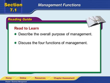Read to Learn Describe the overall purpose of management. Discuss the four functions of management.