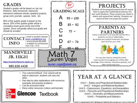 Math 7 Lauren Vogel  Grading Scale Family involvement is an essential element for a student's success in mathematics.