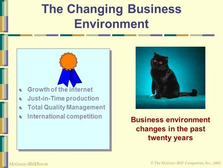 © The McGraw-Hill Companies, Inc., 2003 McGraw-Hill/Irwin The Changing Business Environment Growth of the internet Just-in-Time production Total Quality.