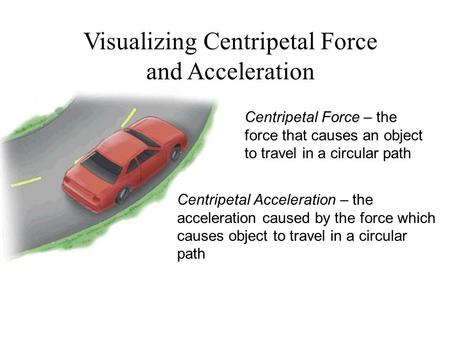 Visualizing Centripetal Force and Acceleration Centripetal Force – the force that causes an object to travel in a circular path Centripetal Acceleration.