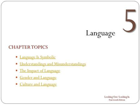 Looking Out/Looking In Fourteenth Edition 5 Language CHAPTER TOPICS Language Is Symbolic Understandings and Misunderstandings The Impact of Language Gender.