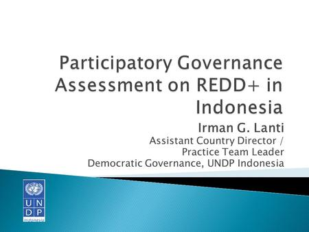 Irman G. Lanti Assistant Country Director / Practice Team Leader Democratic Governance, UNDP Indonesia.