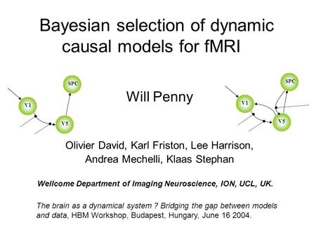 Bayesian selection of dynamic causal models for fMRI Will Penny Olivier David, Karl Friston, Lee Harrison, Andrea Mechelli, Klaas Stephan The brain as.