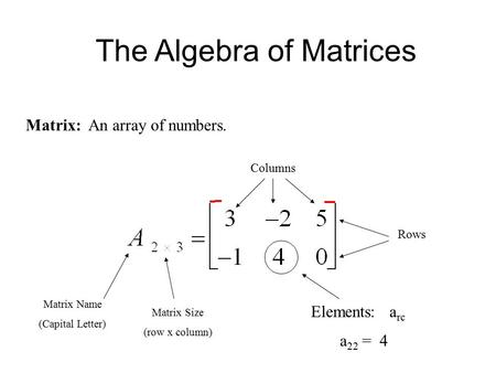 The Algebra of Matrices Matrix: An array of numbers. Matrix Name (Capital Letter) Matrix Size (row x column) Columns Rows Elements: a rc a 22 = 4.