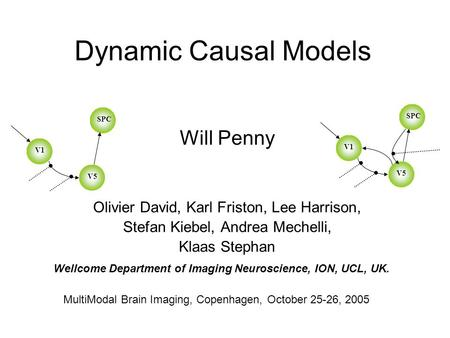 Dynamic Causal Models Will Penny Olivier David, Karl Friston, Lee Harrison, Stefan Kiebel, Andrea Mechelli, Klaas Stephan MultiModal Brain Imaging, Copenhagen,
