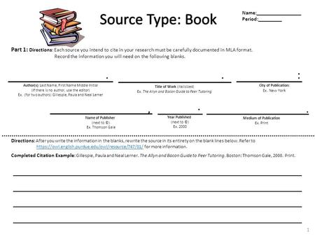 Source Type: Book Source Type: Book Part 1: Directions: Each source you intend to cite in your research must be carefully documented in MLA format. Record.