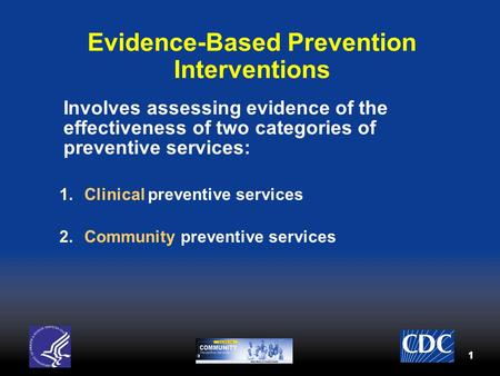11 Evidence-Based Prevention Interventions Involves assessing evidence of the effectiveness of two categories of preventive services: 1.Clinical preventive.