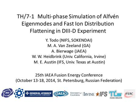 TH/7-1Multi-phase Simulation of Alfvén Eigenmodes and Fast Ion Distribution Flattening in DIII-D Experiment Y. Todo (NIFS, SOKENDAI) M. A. Van Zeeland.
