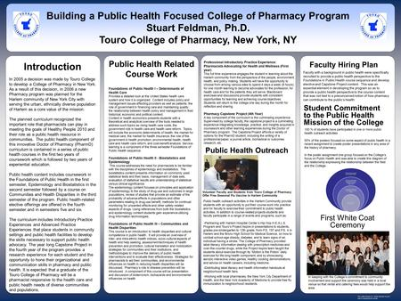 In 2005 a decision was made by Touro College to develop a College of Pharmacy in New York. As a result of this decision, in 2006 a new Pharmacy program.