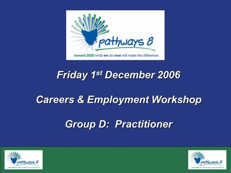 Friday 1 st December 2006 Careers & Employment Workshop Group D: Practitioner.