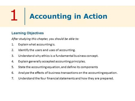 1 Learning Objectives After studying this chapter, you should be able to: 1.Explain what accounting is. 2.Identify the users and uses of accounting. 3.Understand.