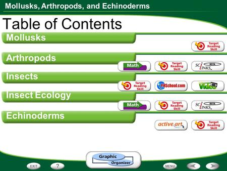 Mollusks, Arthropods, and Echinoderms Mollusks Arthropods Insects Insect Ecology Echinoderms Table of Contents.