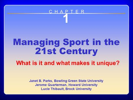 1 Managing Sport in the 21st Century
