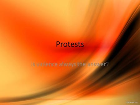 Protests Is violence always the answer?. Examples of Civil Disobedience Boston Tea Party (it is not new!) Consumer Boycotts (Montgomery Bus Boycott) Union.