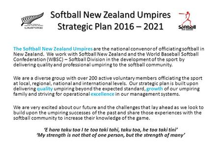 Softball New Zealand Umpires Strategic Plan 2016 – 2021 The Softball New Zealand Umpires are the national convenor of officiating softball in New Zealand.