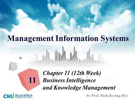 Management Information Systems by Prof. Park Kyung-Hye Chapter 11 (12th Week) Business Intelligence and Knowledge Management 11.