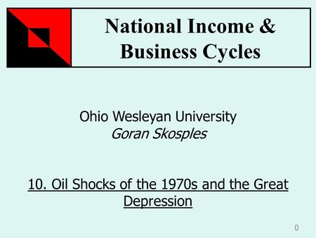 National Income & Business Cycles 0 Ohio Wesleyan University Goran Skosples 10. Oil Shocks of the 1970s and the Great Depression.
