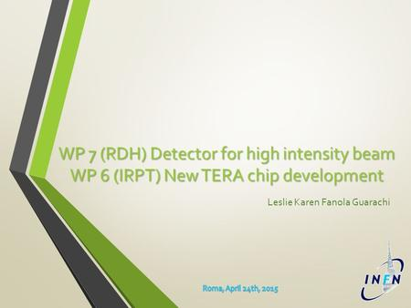 WP 7 (RDH) Detector for high intensity beam WP 6 (IRPT) New TERA chip development Leslie Karen Fanola Guarachi.