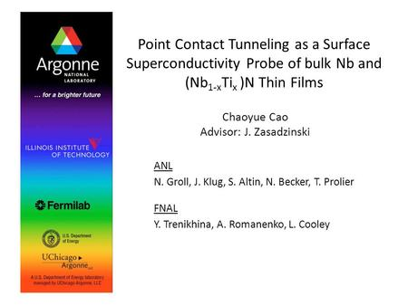 Point Contact Tunneling as a Surface Superconductivity Probe of bulk Nb and (Nb 1-x Ti x )N Thin Films Chaoyue Cao Advisor: J. Zasadzinski ANL N. Groll,
