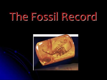 Slide 1 of 40 The Fossil Record. Slide 2 of 40 Fossils and Ancient Life What are fossils? What are fossils? Preserved remains of ancient organisms Preserved.