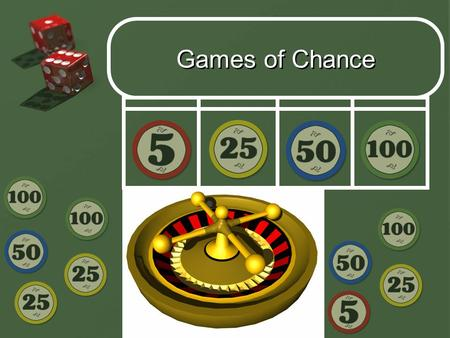 Add Subtopics Here Games of Chance. Introduction  One of the keys to responsible gambling is an understanding of the mathematics governing the operation.